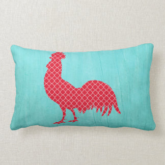 Red Patterned Rooster Silhouette Pillows