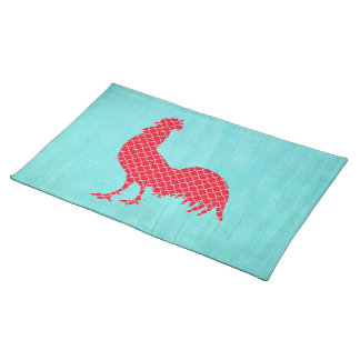 Red Patterned Rooster Silhouette Placemats