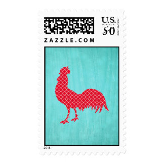 Red Patterned Rooster Silhouette Postage