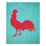 Red Patterned Rooster Silhouette Posters