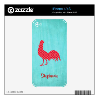 Red Patterned Rooster Silhouette Skins For The iPhone 4S