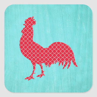 Red Patterned Rooster Silhouette Square Sticker