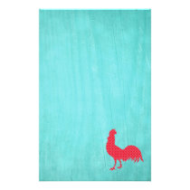 Red Patterned Rooster Silhouette Stationery