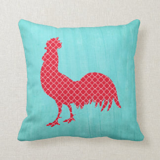 Red Patterned Rooster Silhouette Throw Pillow