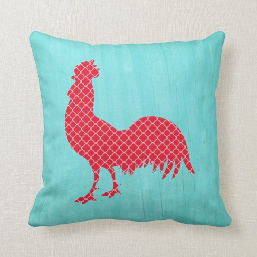 Black Rooster Throw Pillows : Red Patterned Rooster Silhouette Throw Pillows Zazzle