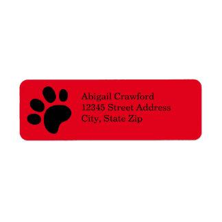 Red Paw Print - Address Label