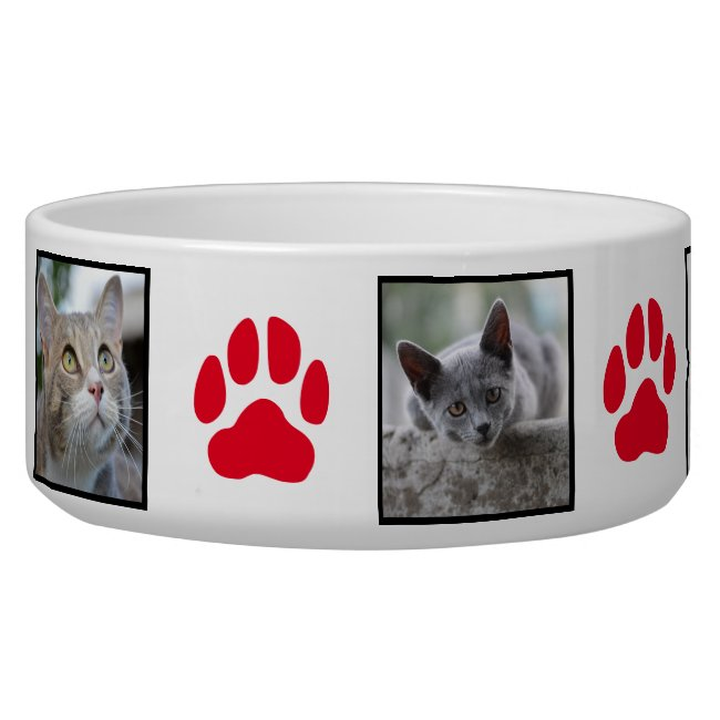 Red Paw Print and Five Image Pet Cat Photo Collage Bowl