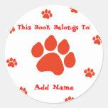 Red Paw Print Bookplate Sticker