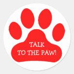 Red Paw Print Classic Round Sticker