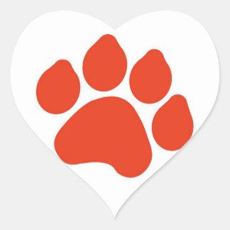 Red Paw Print Heart Sticker