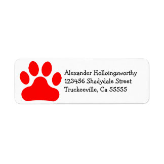 Red Paw Print Label