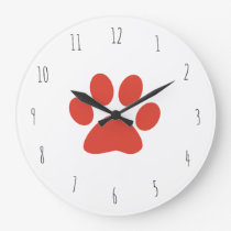 red paw print large clock