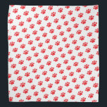 """Red Paw Print Pattern Bandana<br><div class=""""desc"""">This item displays a red paw pattern on a white background. This is a great gift for cat owners,  dog owners,  veterinarians,  vet techs,  vet assistants,  and dog walkers.</div>"""