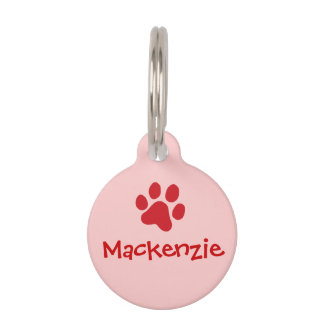 Red Paw Print Pet Name Tag