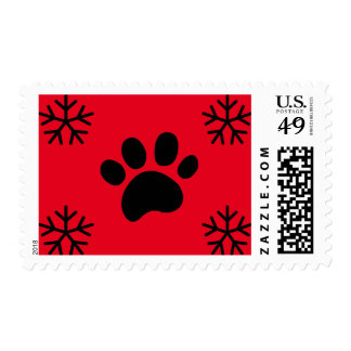 Red Paw Print Snowflakes - Postage Stamp