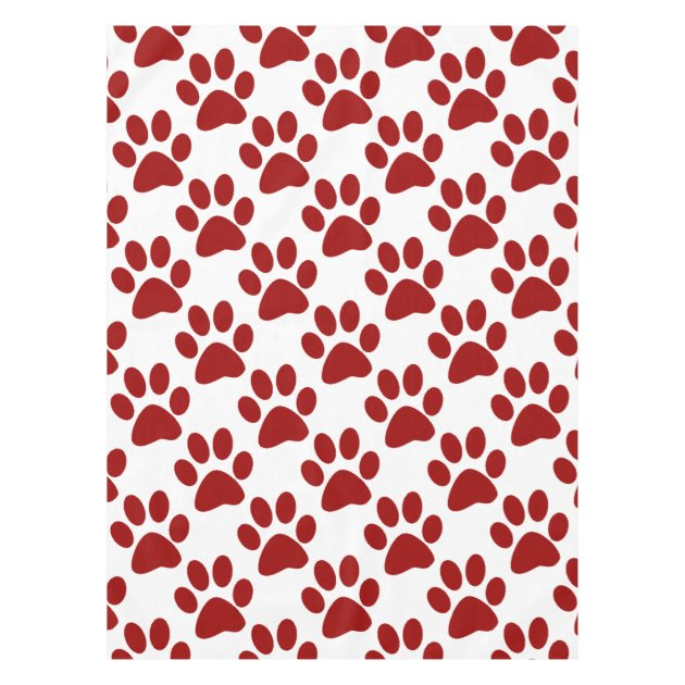 red paw print tablecloth | zazzle.com