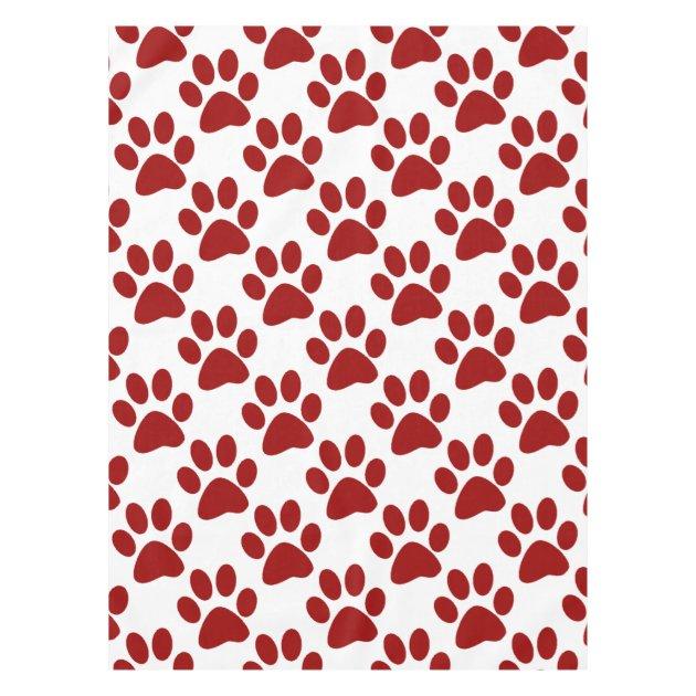 red paw print tablecloth   zazzle.com