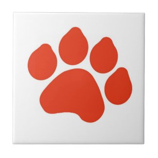 Red Paw Print Tile