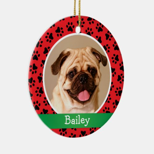 Red Paw Prints Monogram  Pet Dog Photo Holiday Ceramic Ornament