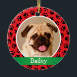 "Red Paw Prints Monogram | Pet Dog Photo Holiday Ceramic Ornament<br><div class=""desc"">Personalize this festive green,  red,  and black paw print ornament design with your pet's name and photo.</div>"