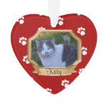 Red Paw Prints Pet Photo Ornament