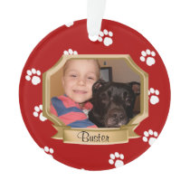 Red Paw Prints Pet Photo Ornament