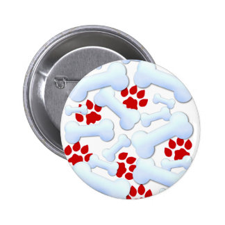 Red Paws And Dog Bones Pinback Button