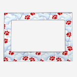 Red Paws And Dog Bones Magnetic Photo Frame