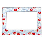 Red Paws And Dog Bones Magnetic Picture Frame