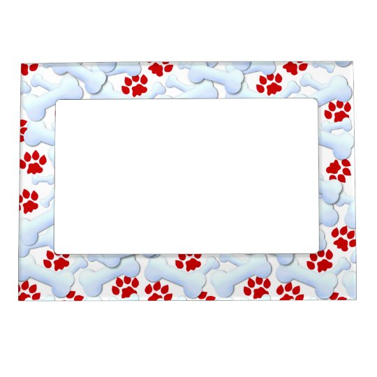 Red Paws And Dog Bones Magnetic Picture Frame | Zazzle.com
