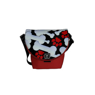 Red Paws And Dog Bones Courier Bag