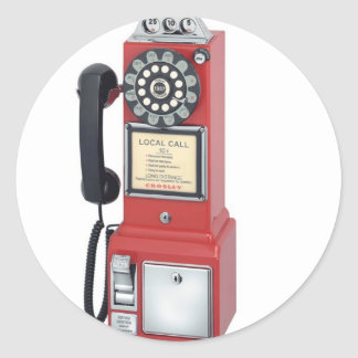RED PAY PHONE CLASSIC ROUND STICKER