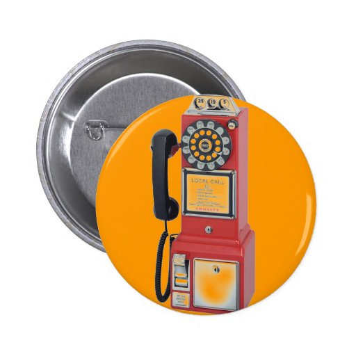 RED PAY PHONE PINBACK BUTTON
