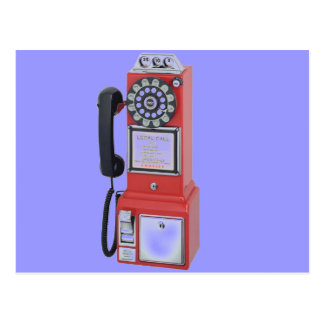 RED PAY PHONE POSTCARD
