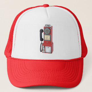 RED PAY PHONE TRUCKER HAT