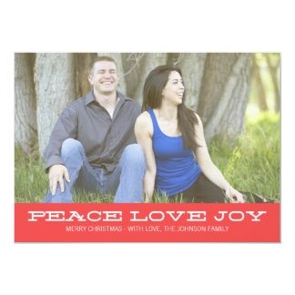 Red Peace Christmas Photo Flat Card