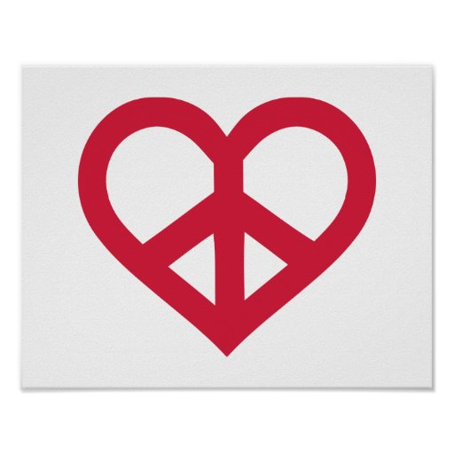 Red peace heart print