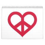 Red peace heart wall calendar