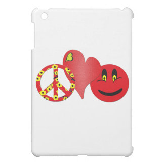 Red Peace Love Happiness iPad Mini Cover