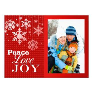 Red Peace Love Joy Photo Christmas Flat Card Custom Invite