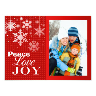 "Red Peace Love Joy Photo Christmas Flat Card 6.5"" X 8.75"" Invitation Card"