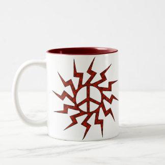 Red Peace Sigh Star Two-Tone Coffee Mug