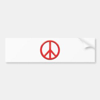 RED PEACE SIGN BUMPER STICKER