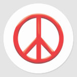 RED PEACE SIGN CLASSIC ROUND STICKER