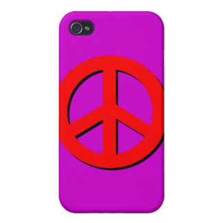 Red Peace Sign  Cover For iPhone 4