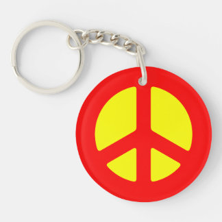 Red Peace Sign Keychain