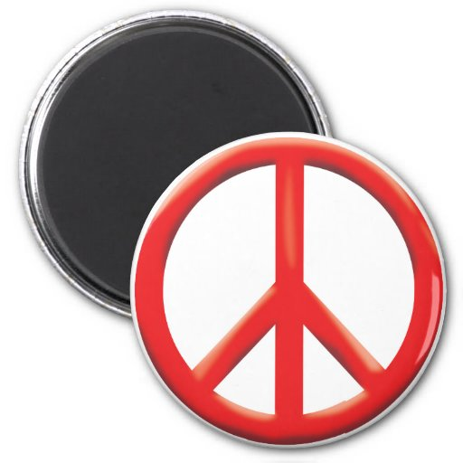 RED PEACE SIGN MAGNET