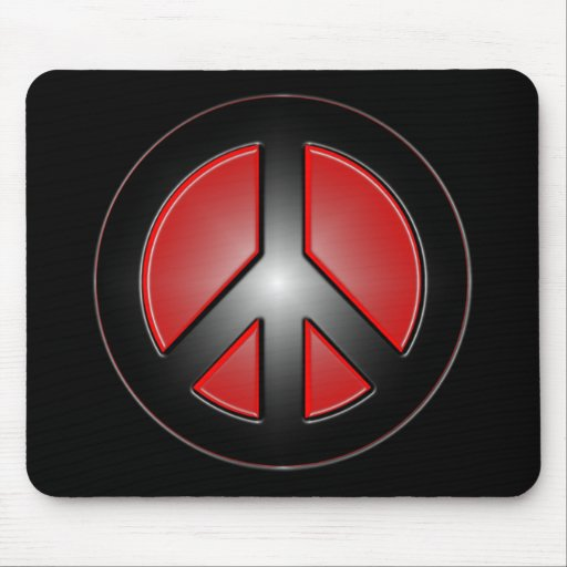 red peace sign mouse pad