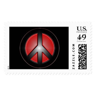 red peace sign postage stamp
