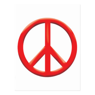 RED PEACE SIGN POSTCARD
